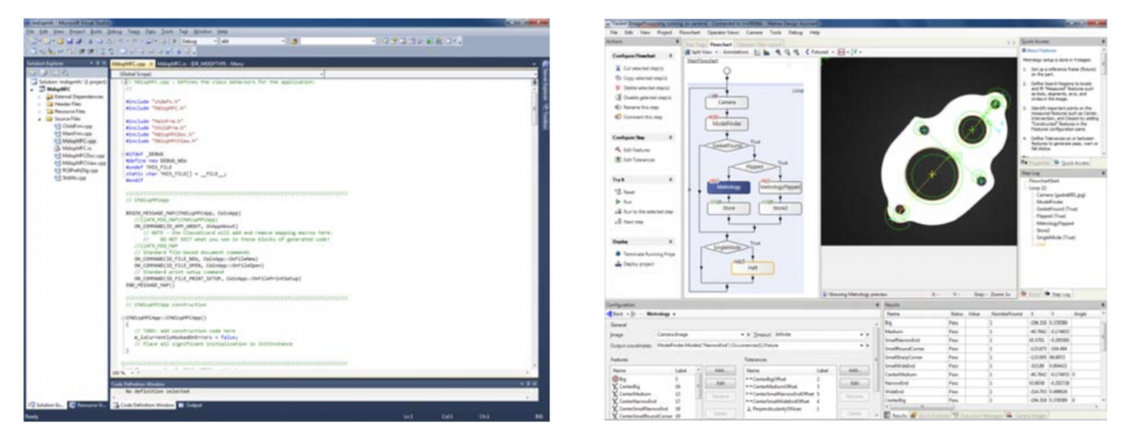 Figure 1 – Developing an application using a vision library by writing traditional program code (left). Creating an application using a vision‐specific IDE by connecting and configuring operation blocks (right).